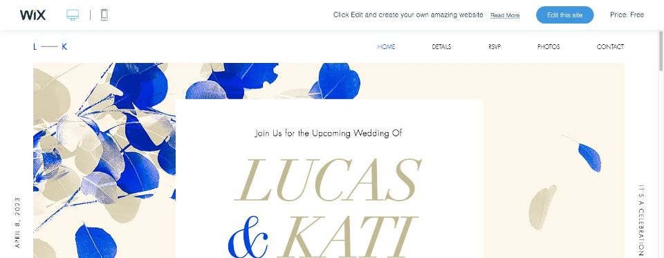 Colorful Wedding Invite Website Template WIX