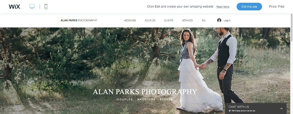 Couples Photography Website Template WIX