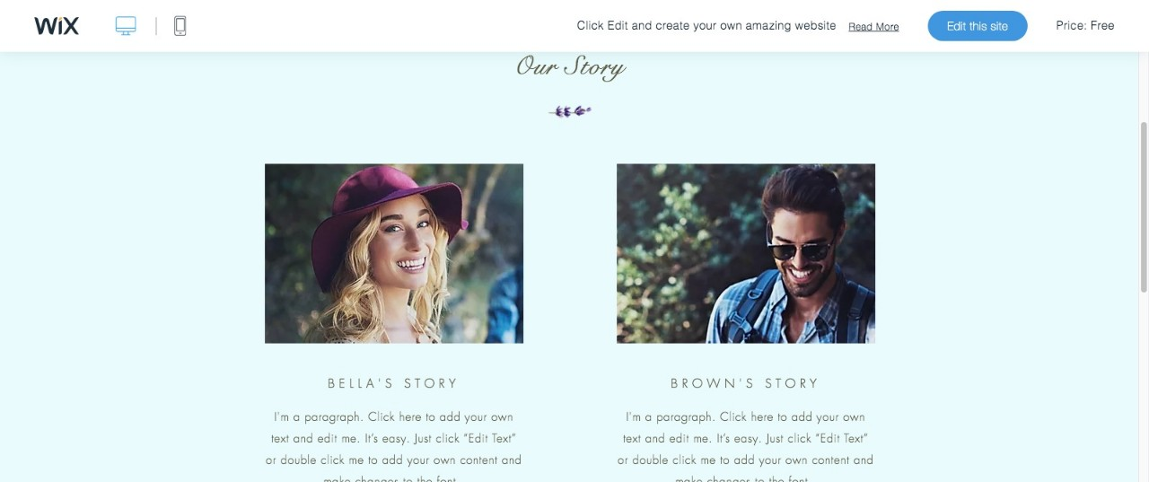 Engagement Site Website Template WIX