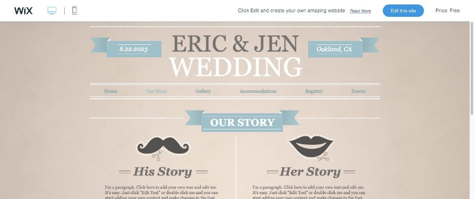 Funky Engagement Website Template WIX