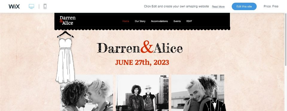 Wedding Announcement Website Template WIX
