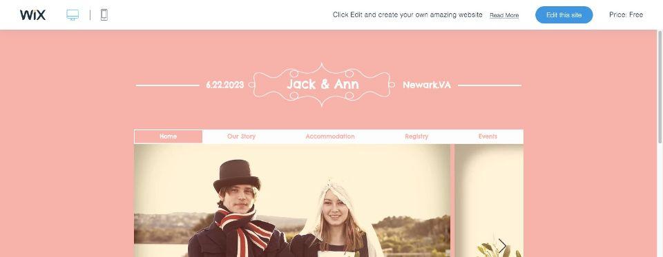 Wedding Event Website Template WIX